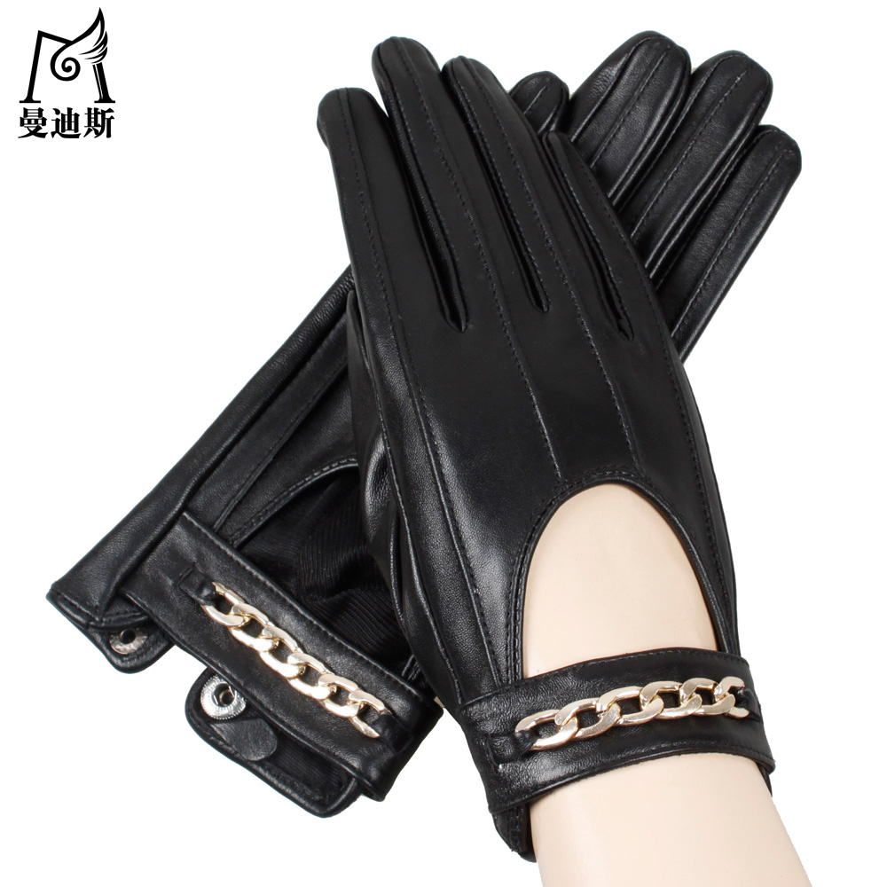 Ladies leather gloves large - Ladies Thickening Velvet Outdoor Driving Touch Screen Leather Gloves Layer Of Sheepskin Warm Gloves Women United