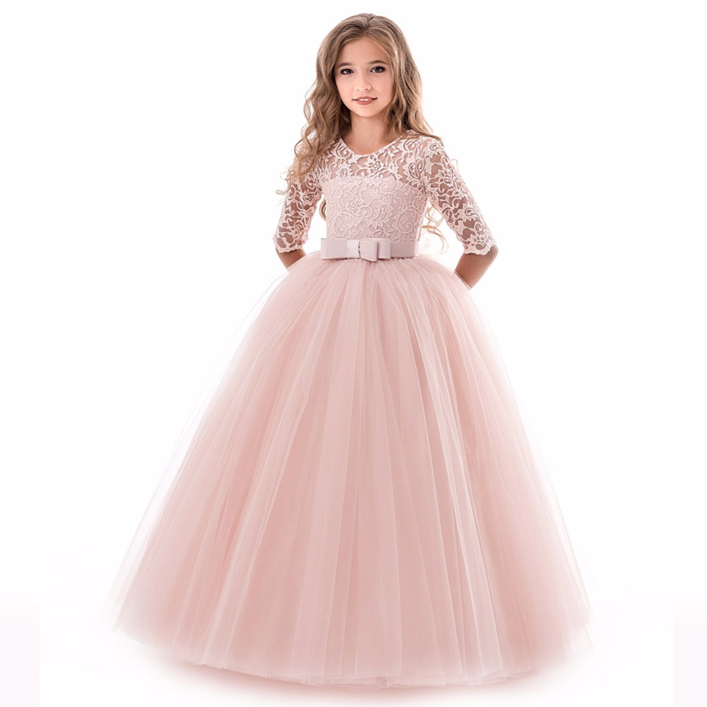 Kids White Bridesmaid Wedding   Flower     Girls     Dress   Children Prom Winter   Girls   Long Sleeve Party   Dresses   For   Girls   Princess   Dress