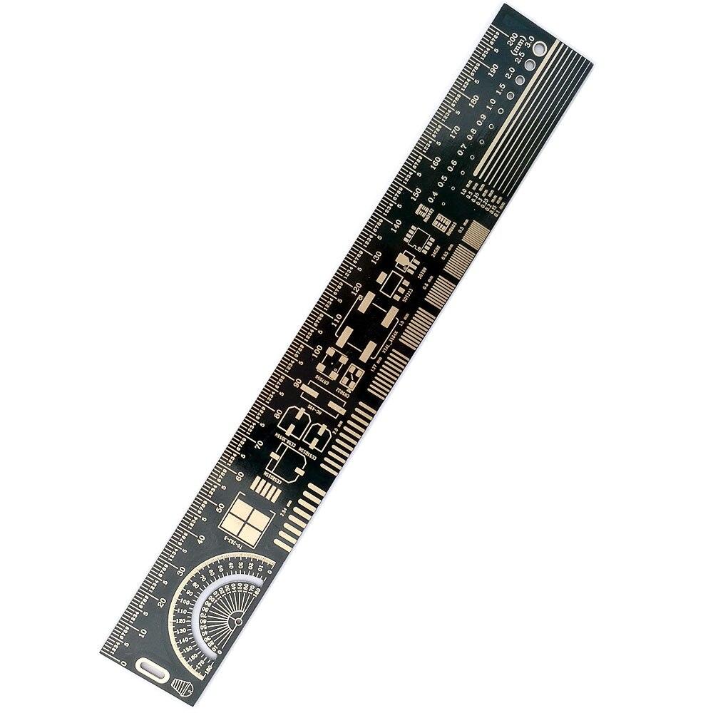 Image 2 - 10 шт. многофункциональная линейка PCB EDA измерительный инструмент Высокая точность транспортир 20 см черныйtool ionprotractor angletool money  АлиЭкспресс