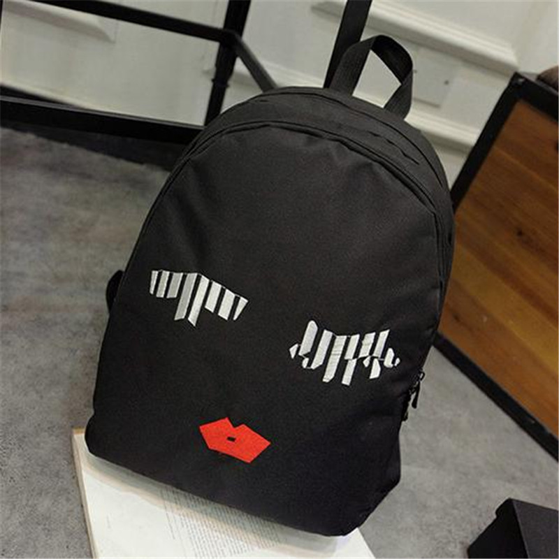2016 Preppy Style Embroidery Canvas Backpacks Fingers Eyes Lips Printing Women Schoolbag For Teenagers Travel Rucksack Bag 1111t