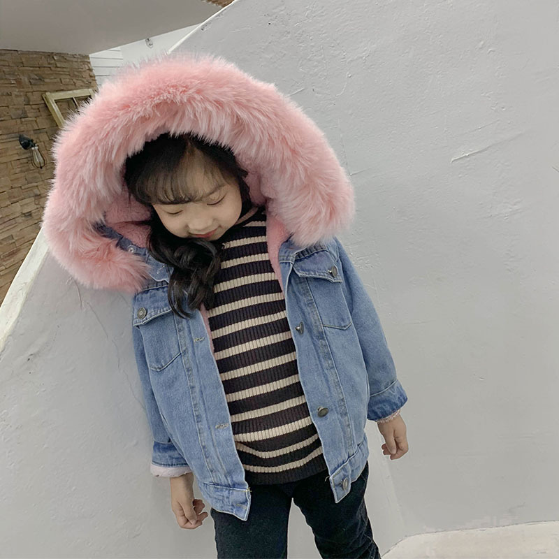 все цены на Cold Russian Girls Coats Denim Jacket Kids Faux Fur Collar Removable Thicken Coat For Baby Boy Children Winter Outwear For Girls