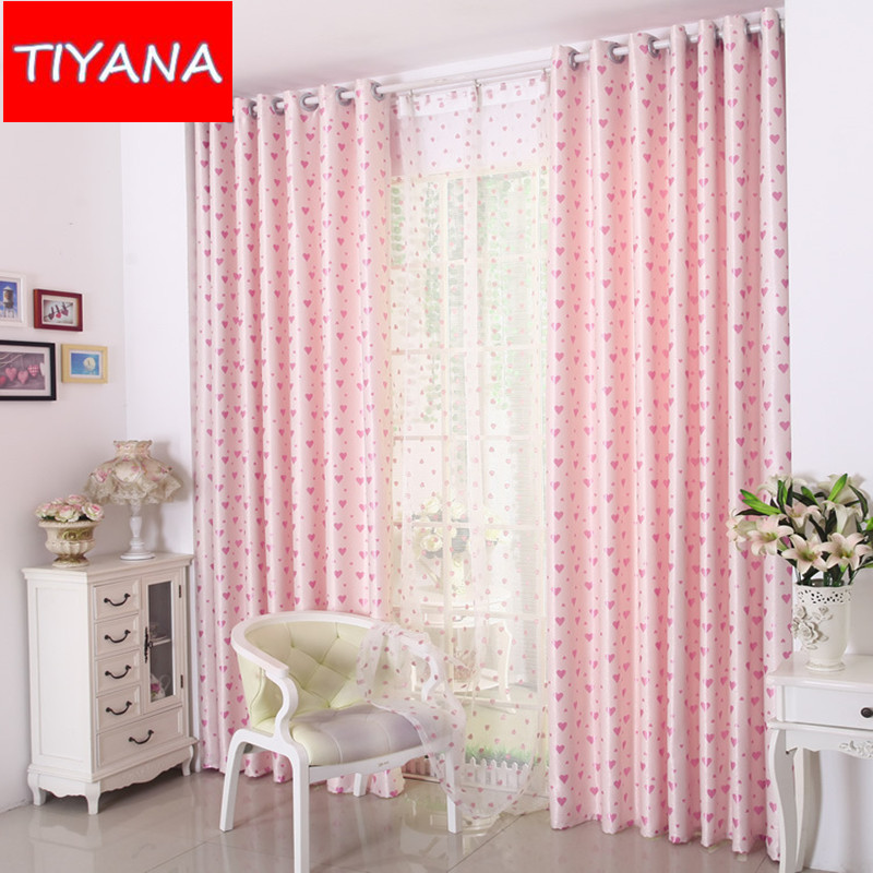 High quality flocked curtains for children room heart for Fabrics for children s rooms