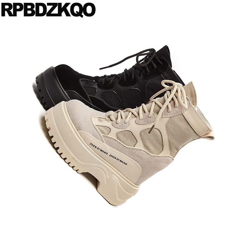 Fetish Talon Wedge Automne Haut Chaussures Militaire Bottes Cheville Femmes Qualité Beige Extreme De Toile Lacent Avant Combat Noir noir Muffin Casual d1ZwqZT