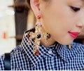 2014 de Moda de Nova Luxury Vintage Big gem grande Pérola grande cruz Brincos Presente Para As Mulheres Da Moda cc brinco de casamento jóias