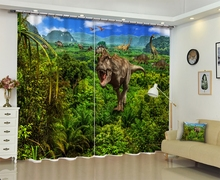 Dinosaur print Chinese Modern Luxury 3D Blackout Window Curtain Drapes For Living room Bed room Hotel