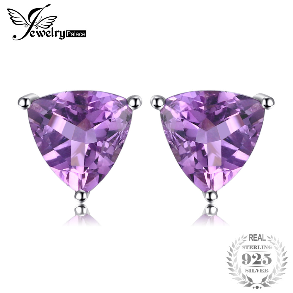 JewelryPalace Trillion 1.9ct Natural Purple Amethyst Birthstone Stud Earrings Solid 925 Sterling Silver Fine Jewelry For Women jewelrypalace trillion 1 1ct natural purple amethyst solitaire ring 100% 925 sterling silver women fashion jewelry big promotion