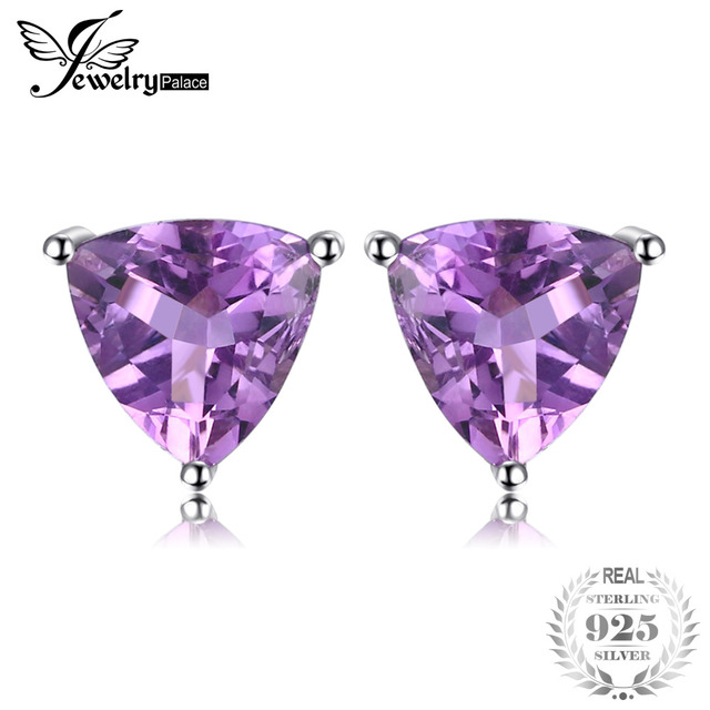 JewelryPalace Trillion 1.9ct Natural Purple Amethyst Birthstone Stud Earrings So