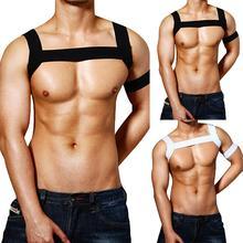 Сексуальный нейлоновый нагрудный ремень для тела для мужчин Эластичный плечевой ремень сценический костюм Клубная одежда Связывание одежда для мужчин Прямая поставка