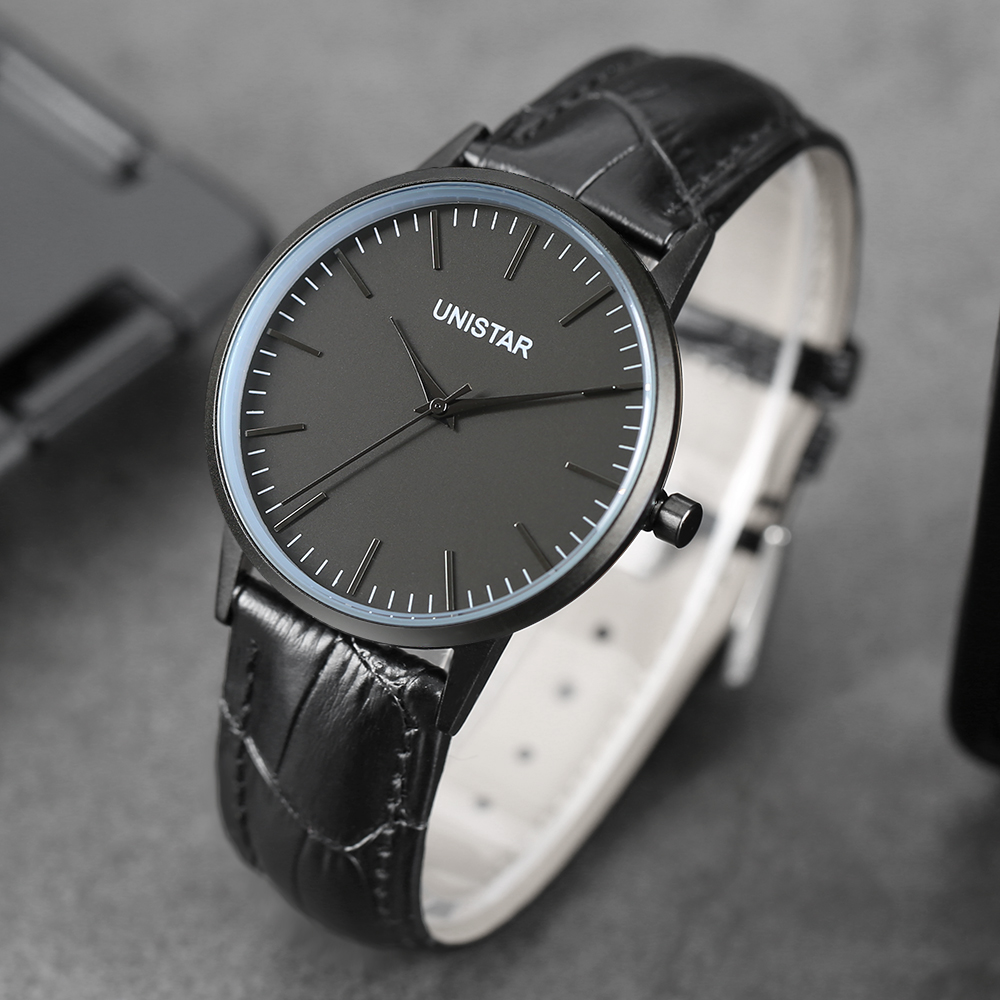 UNISTAR  Luxury Men Women Watches Ultra Thin Quartz Clock Leather Band Waterproof Casual Top Man Wristwatches Father's Day Gift