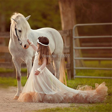 Cute Romantic Lace Long Sleeve Long Train Flower Girl Dresses Ivory and Pink First Communion Dresses