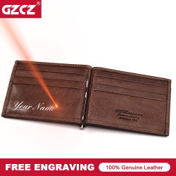 GZCZ Men Women Genuine Leather Money Clips Bifold Male Purse Billfold Wallet Bills Cilp Female Clamp For Money Case Free Engrave