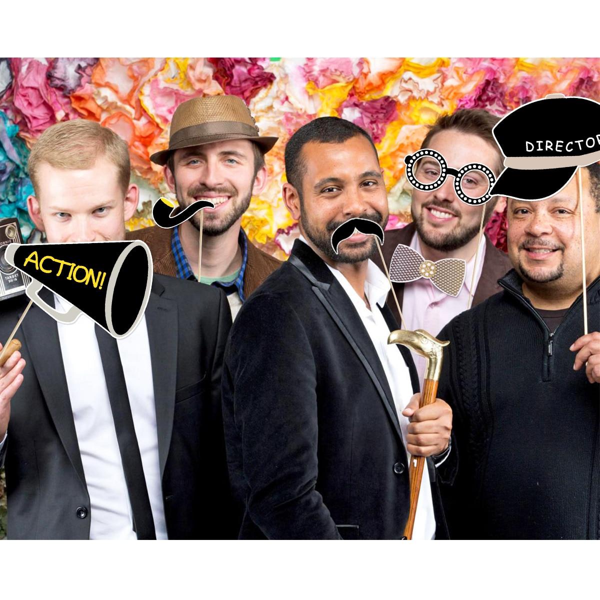 Tinksky 21Pcs Hollywood Stijl Party Masker Foto Props Bachelorette Party Wedding Decor Snor Verjaardag Feestartikelen - 5