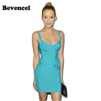 Bevencel 2017 New Summer Dress Spaghetti Strap Sleeveless Mini Bodycon Women Bandage Dresses Vestidos