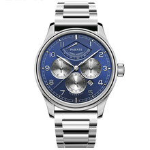 цена 42mm PARNIS Blue Dial Gangreserve Anzeige Saphirglas Date Luxury Stainless Case Miyota Automatic movement men's Watch NEW Arrive онлайн в 2017 году