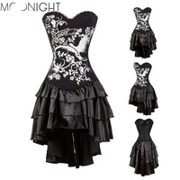 MOONIGHT S 2XL Sexy Overbust Corset And Bustier Lace Evening Women Casual Dress Push Up Gothic Corset Dress With Skirt