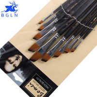 9 unids/set pincel de Nylon acrílico para pintura al óleo pincel oblicuo para pinceles para óleo y acrílico pluma pincel para pintura suministros de arte 802