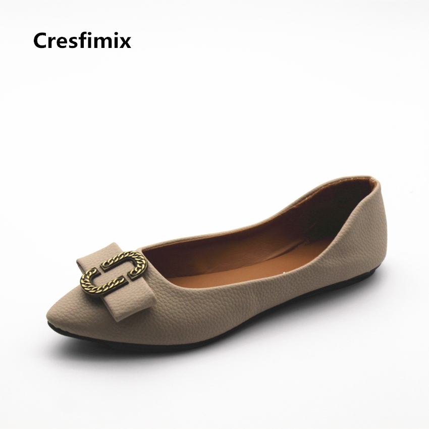 Cresfimix sapatos femininos women casual soft pu leather pointed toe flat shoes lady cute summer slip on flats soft cool shoes cresfimix sapatos femininas women casual soft pu leather flat shoes with side zipper lady cute spring