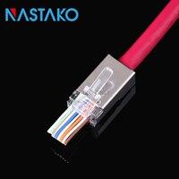 NASTAKO 50 100pcs RJ45 Connector Cat5e Cat6 Network Connector 8P8C Metal Shielded Modular Rj45 Plug Stp