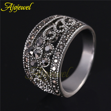 Ajojewel Hot Sale Vintage Antique Jewelry Silver Plated Cute Black CZ Flower Retro Ring Women