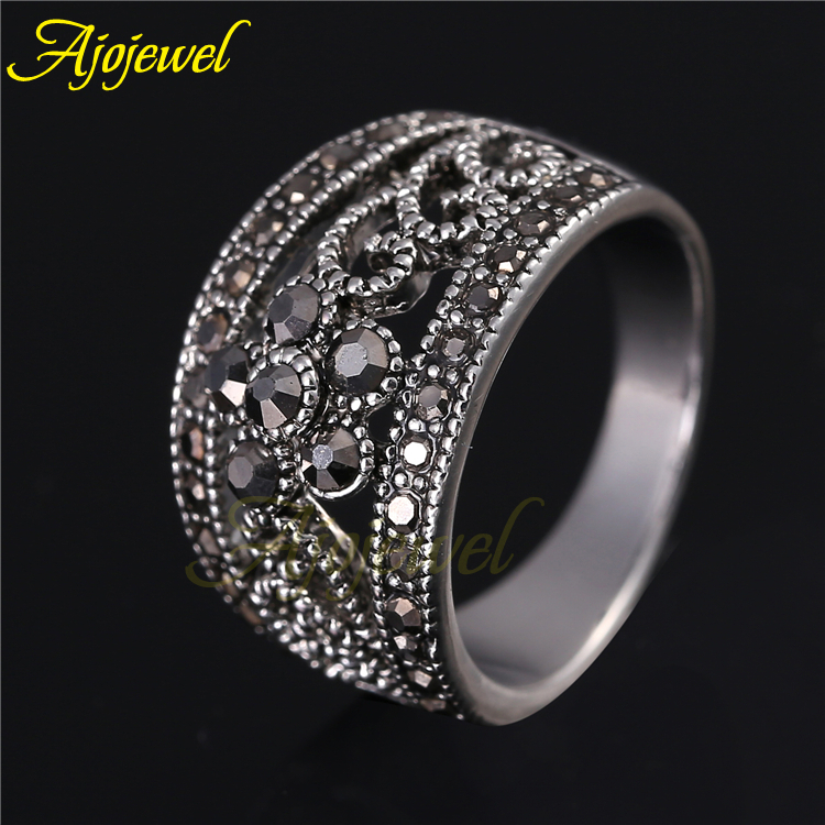 Ajojewel Hot Sale Vintage Antique Jewelry Silver Plated Cute Black CZ Flower Retro font b Ring
