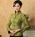 Бесплатная доставка зеленый белье хлопка пальто китайской традиции кнопка тан-костюм мандарин воротник куртка S для XXXL T019-B