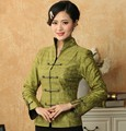 Free Shipping Green Lady Linen Cotton Overcoat Chinese Tradition Button Tang Suit Mandarin Collar Jacket S To XXXL T019-B