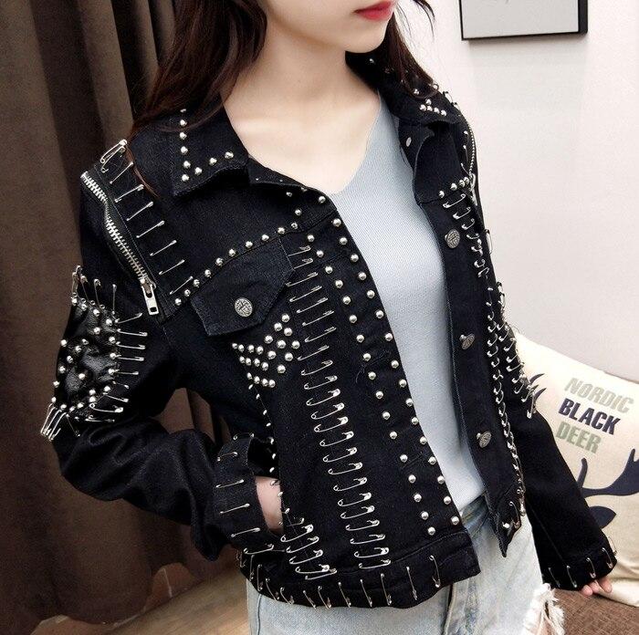 2018 new autumn lapel long sleeve solid color black rivet safety pin Slim Motorcycle short Denim jacket women coat fashion tide