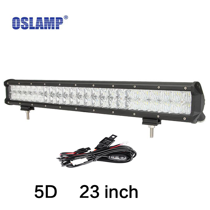 Oslamp 5D LED Light Bar 23 240W Spot Flood Combo Beam LED Bar Offroad 4x4 4WD ATV UTV Truck Trailer Camper RZR Van 24V Tractor popular led light bar spot flood combo beam offroad light 12v 24v work lamp for atv suv 4wd 4x4 boating hunting