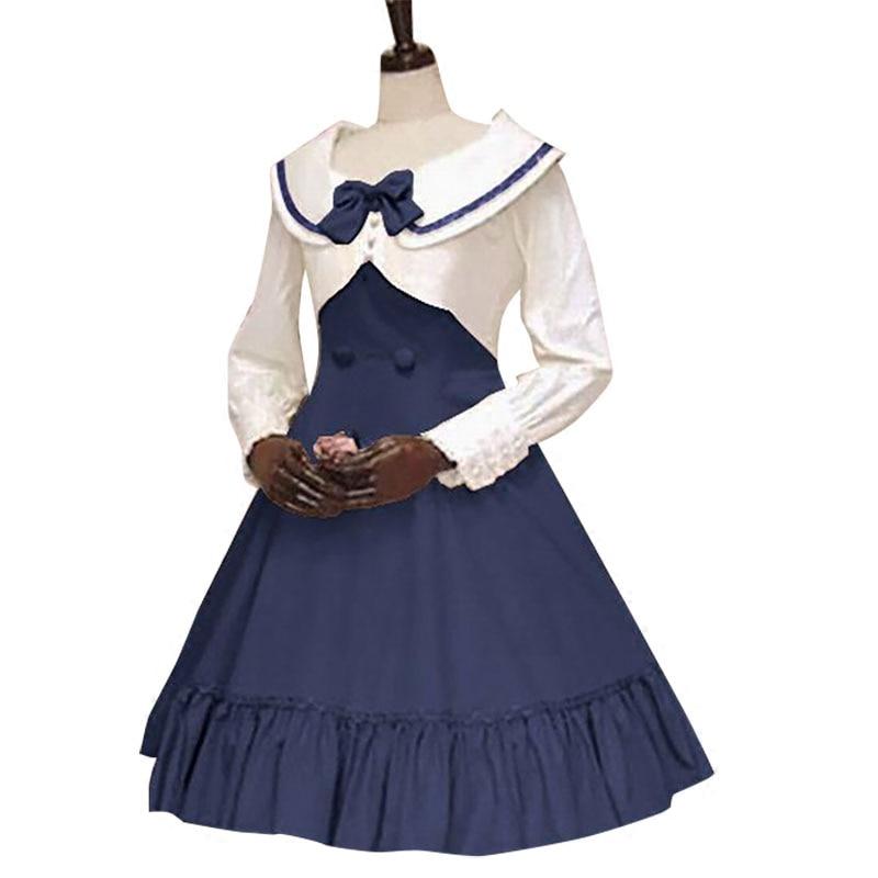 Sailor Lolita Dresses Navy College Wind Slim Bow Princess Dress