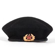 Nova Alta Qualidade de Lã % Boinas para Mulheres Dos Homens Do Exército  Russo emblema nacional boina Chapéu Adulto Chapéu ajustá. 31b5fe804e2