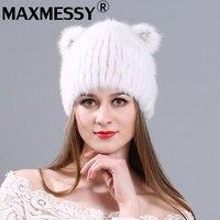 MAXMESSY Mode chaud nouvelle dame vison tricoté chapeau avec l'oreille modèles aucun combles broderie Mme tricoté chapeau