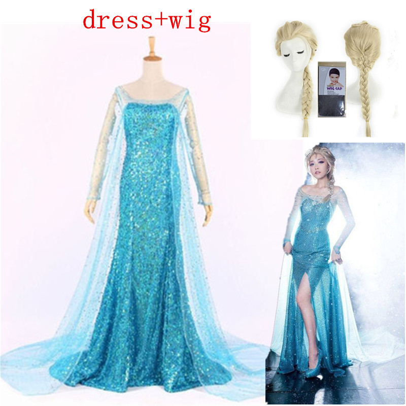 Adult Womens Snow Queen Elsa Costume Cosplay Party Gown Fancy Dress And Wig