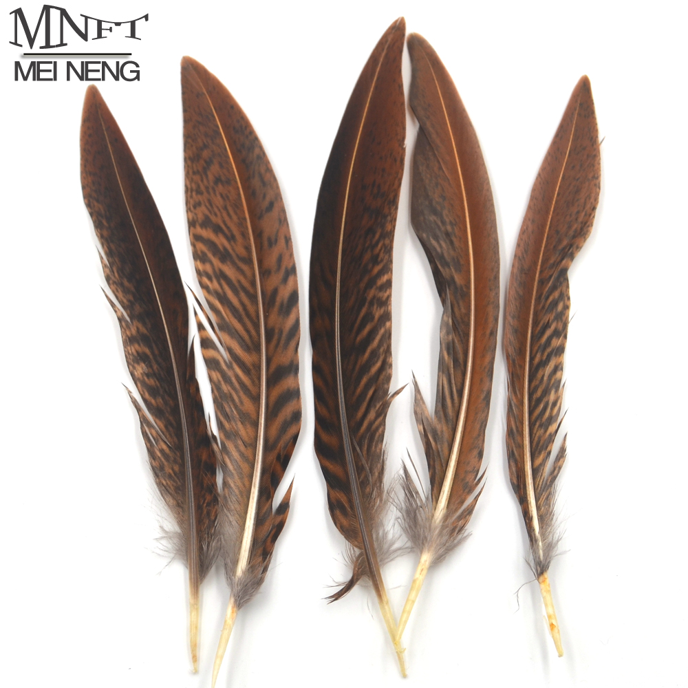 MNFT 5Pcs Natural Brown Black Color Plume Feather Fly Tying Wing Tail Material 10 ~ 15cm Length for Artificial Insect Bait