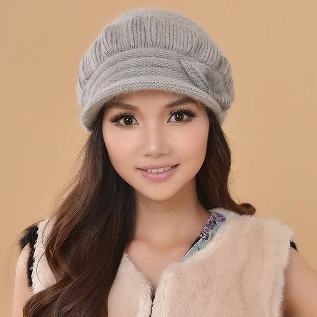 2017 Hot Sale Solid Hats Mask Free Shipping Women Hat Cap Winter Knitted Bow Knot Wool Top Quality Thermal Double Layer Beanies