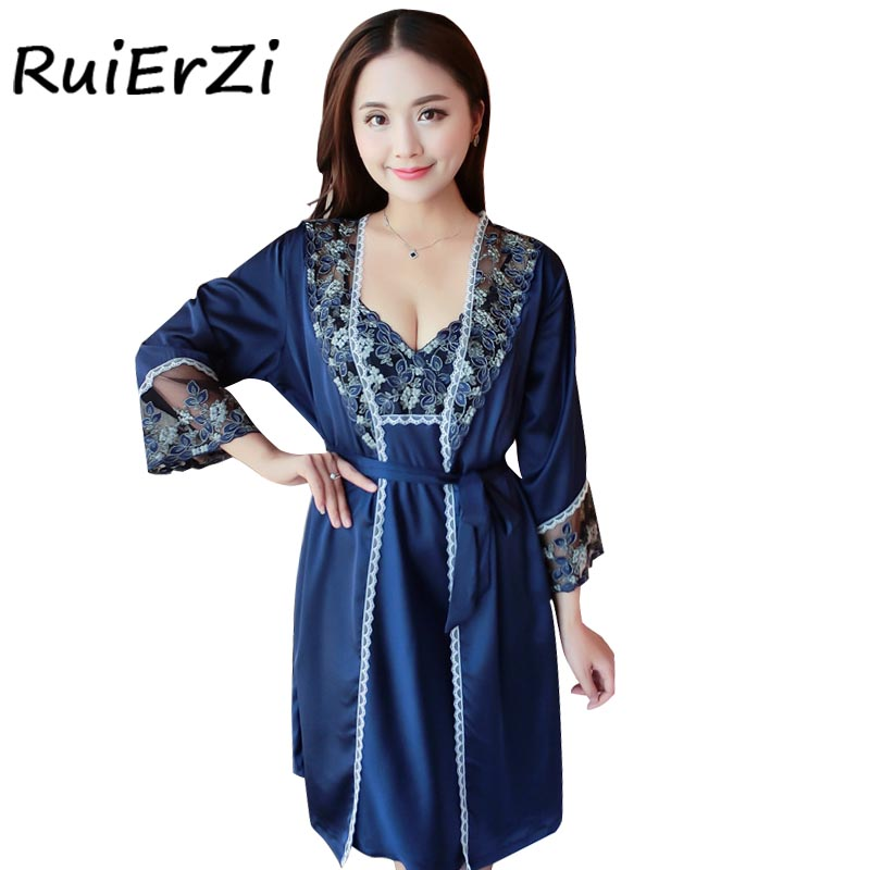 Summer Women Bow Silk Patchwork Fashion Robe & Gowns Set Holllow Out Sexy Two Piece Comfortable Sleepwear + Bathing Robe Hot