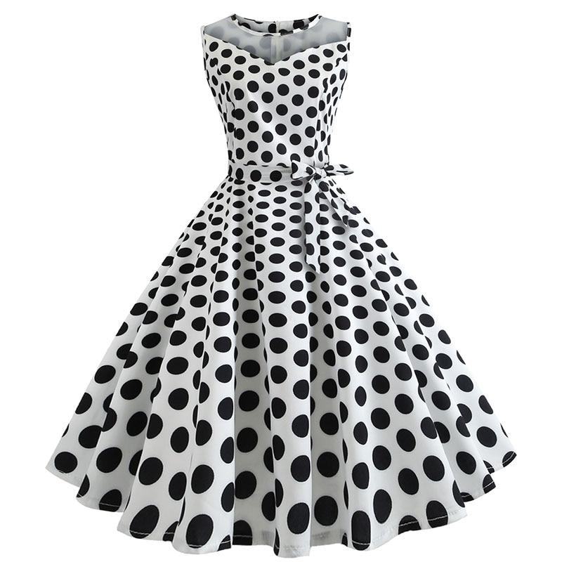 Retro letné párty šaty 1950 s bodkami Swing style (8 variánt) 6