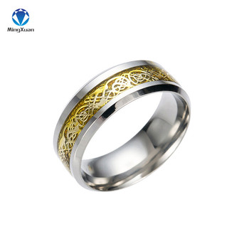 Vintage Gold Free Shipping Dragon 316L stainless steel Ring Mens Jewelry for Men lord Wedding Band 5