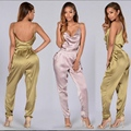 sexy backless suit women pink satin suit 2017 summer women one piece bandage set night club wear full bodysuits XD828