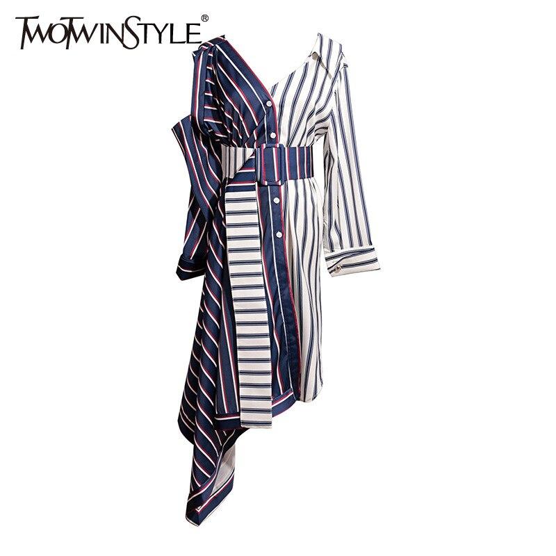 Deuxtwinstyle asymétrique chemise robe femmes épaule dénudée rayé Sexy robes femme avec large ceinture Patchwork vêtements automne