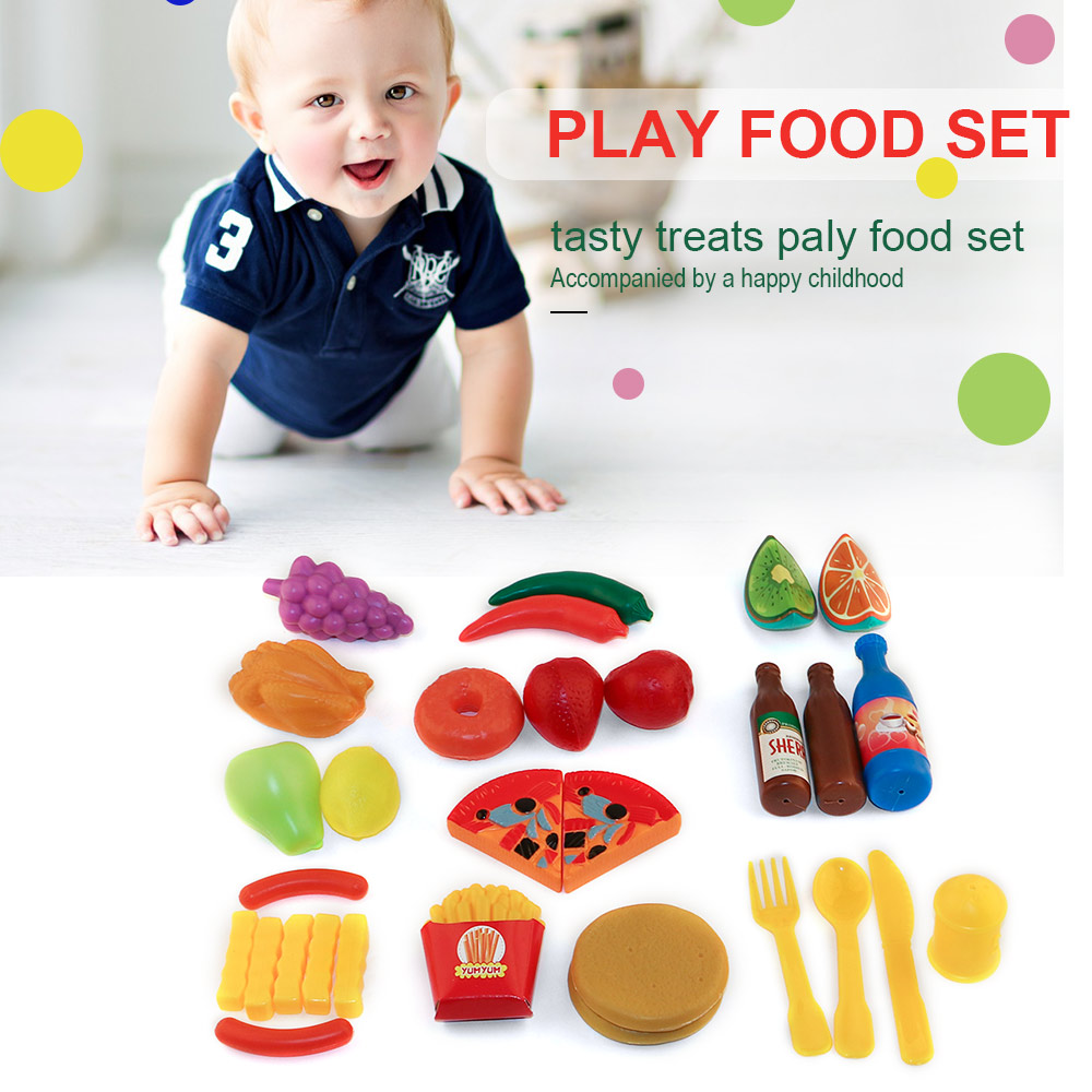 30Pcs Pretend Role Play Kitchen Food Play Set Toys Educational Toy for Children Christmas Gift