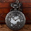 Vintage Steampunk Black Spine Ribs Hollow Quartz Pocket Watch Necklace Antique Pendant Women Gift P202