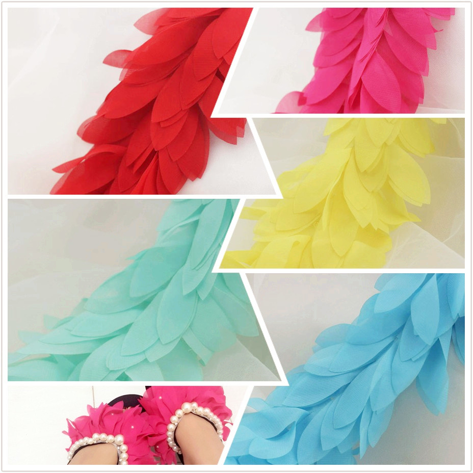 3D Chiffon Flower Lace Appliqued 3 Yds Boa Trim Sewing Fringe Lace Ribbon Bow Skirt LacePink Mint Green White Black 6CM Wide