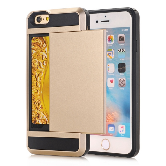 size 40 deec2 8eaec US $2.39 25% OFF|Armor Slide Hidden Card Holder Phone Case Hard PC Soft TPU  Hybrid Back Cover For Apple iPhone X 5 5C 5S SE 6 6S Plus 7 8 7 Plus-in ...