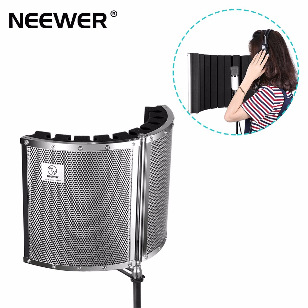 Neewer Foldable Microphone Acoustic Isolation Shield with Lightweight Metal Alloy, Acoustic Foams, Mounting Brackets and Screws ...