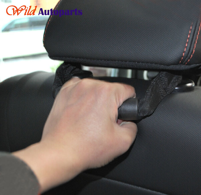 2pcs Front Seat Headrest Rear Seat Chair Grab Handle For