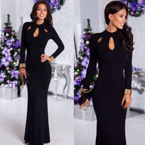 4f9530f225 Vintage Womens Party Tunic Long Sleeve Maxi Dress Sundress Bodycon Hollow Summer  Dresses Vestidos Longo Jurken