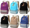 Vintage Style Ethnic Women Girl Canvas Shoulder School Bag Dot Print Backpack Travel Satchel Rucksack