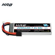 Hrb lipo 2s bateria 7.4v 2200mah 50c burst 100c rc bateria zangão akku trx xt60 t dean para traxxas 1:16 slash e revo cúpula rally
