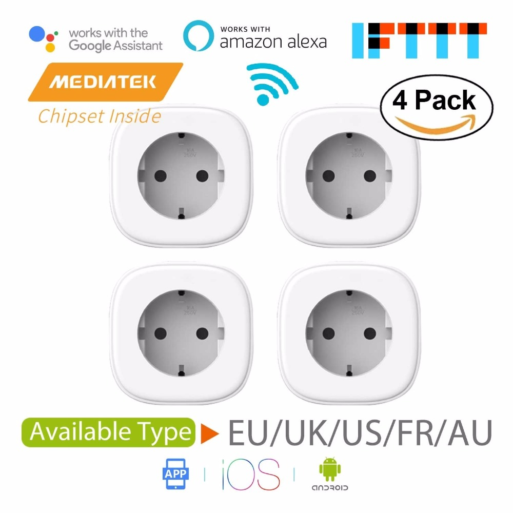 Smart WiFi Plug Alexa Google Assistant IFTTT Supported App Remote Control 4 Pack Meross MSS210 MSS310