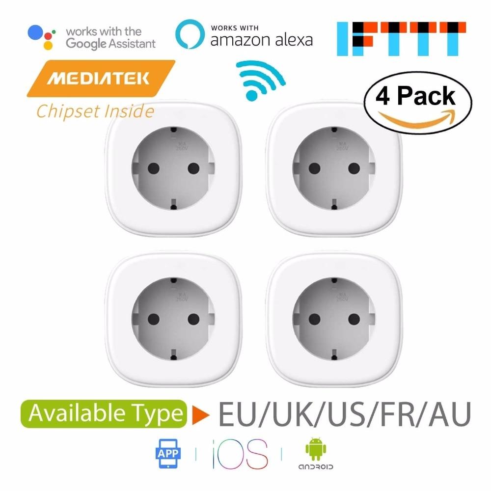 Smart WiFi Plug, Amazon Alexa et Google Assistant et IFTTT Pris En Charge, app Télécommande-4 Pack Meross MSS210/MSS310